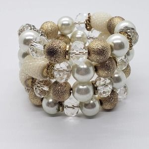 Gold Tone Cream Clear Beaded Memory Wire Bracelet